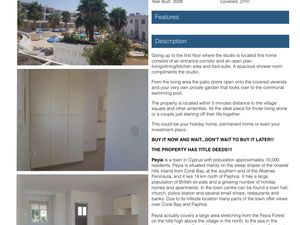 PEYIA, PAPHOS, CYPRUS - STUDIO FOR SALE