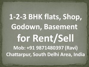 3bhk flat for rent in chattarpur please call me